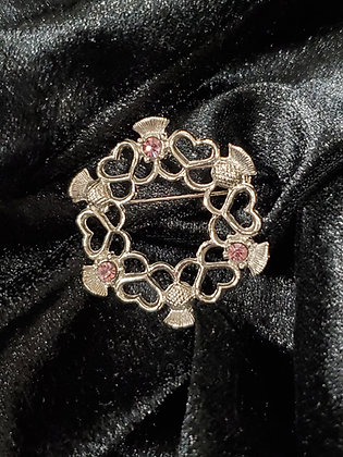 Heart and Thistle Pin with Pink Stones