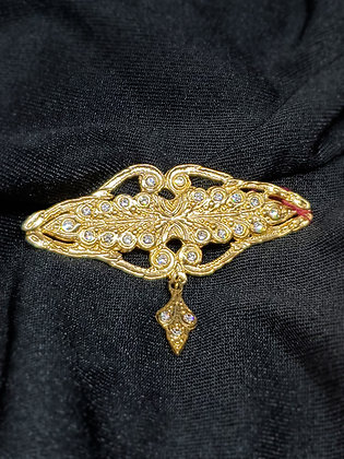Crystal w/hanger Gold Broach