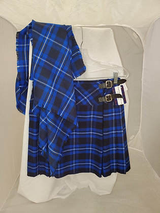 Set- Highland Blue Casual Kilt and Scarf