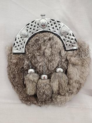 Grey Rabbit Fur Dress Sporran with Silver Cantle