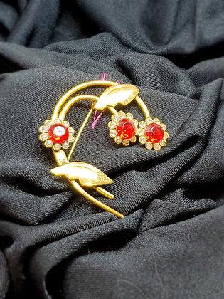 Red Stone Flower Broach