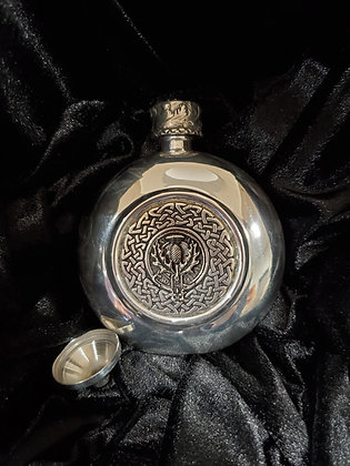 Round Sterling Silver Flask Engraved with Celtic Knot and Thistle