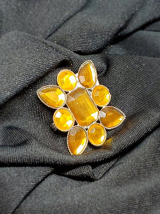 Yellow Stone Square Gold Broach