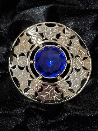 Carved Thisle Plaidie Broach in Sterling Silver with Blue Stone