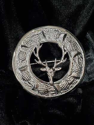 Deer and Thistle Carved Plaidie Broach