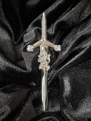 Rampant Lion on Sword Kilt Pin