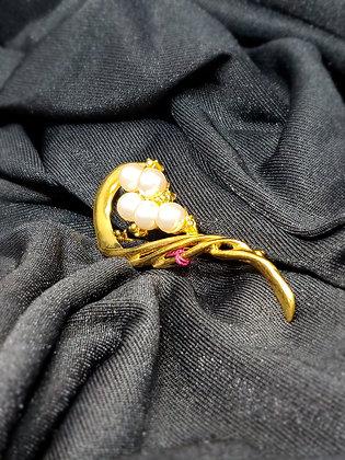 Heart Half w/ Pearls Gold Broach