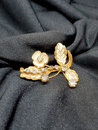 Flowers, leaves w/ Gems Gold Broach