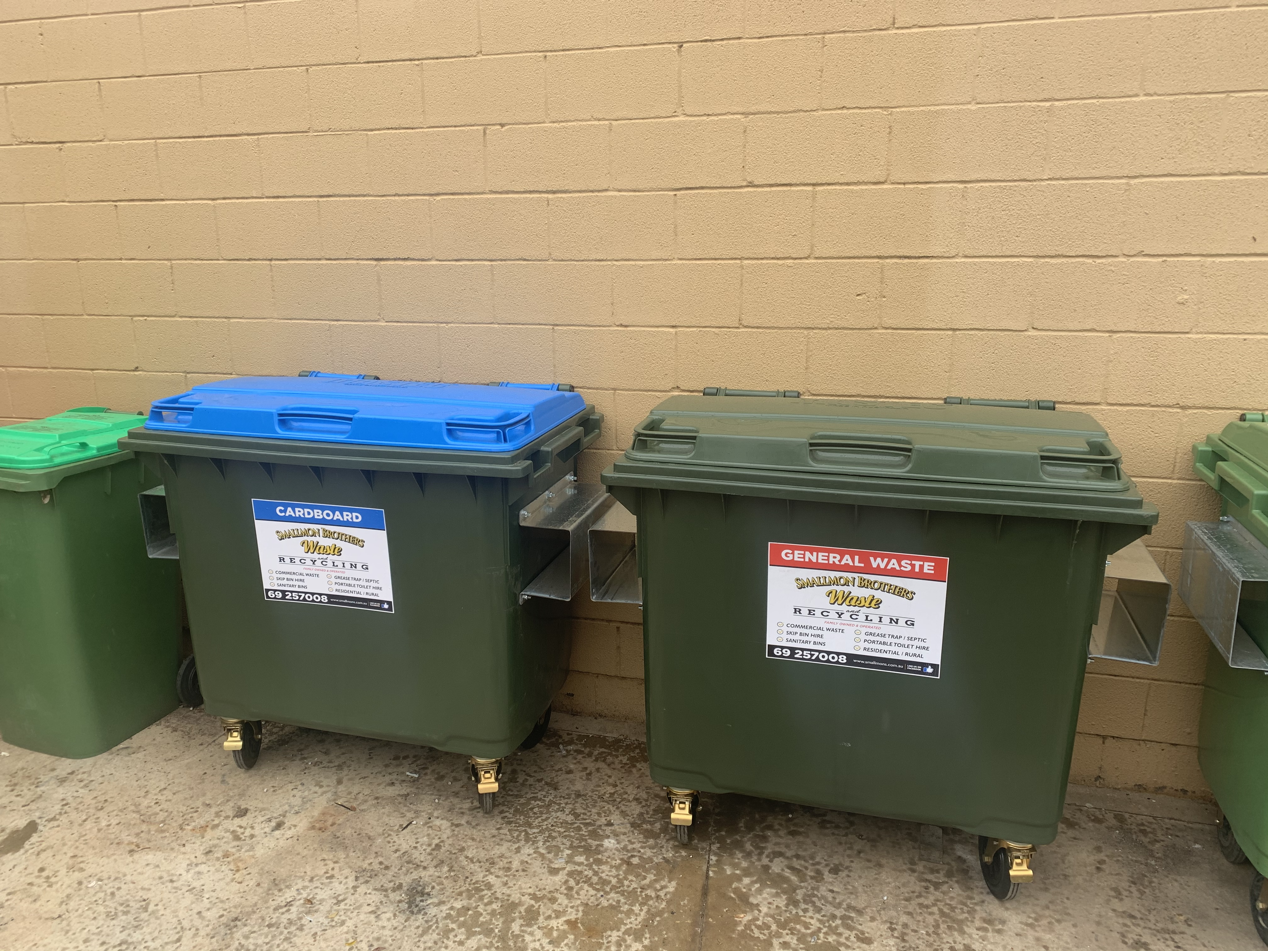 660L General Waste and Cardboard Recycling Bins