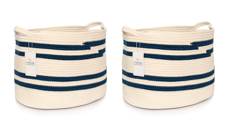 "Navy White Rectangular  | Set of 2 | 11"" W x 12"" H x 14.5"" L"