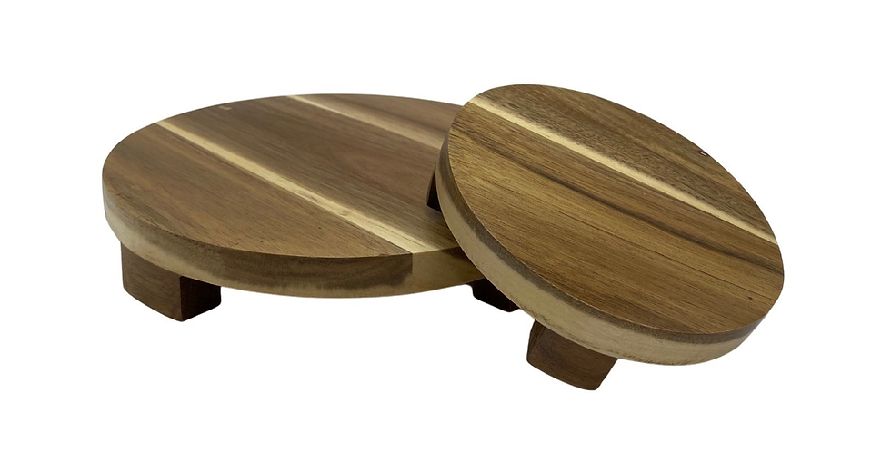 Acacia Wood Round Pedestals - Set of 2