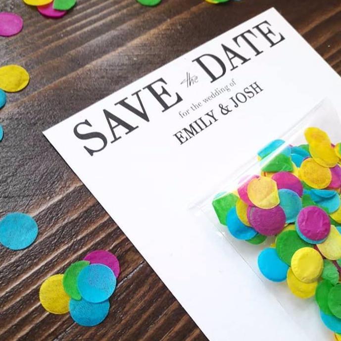 colourful confetti wedding invite