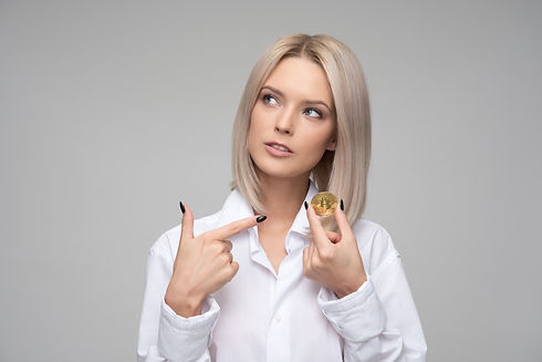 Lady pointing to Bitcoin.jpg