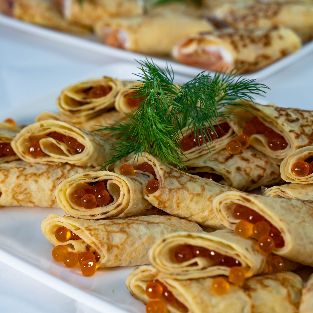 Crepes with caviar
