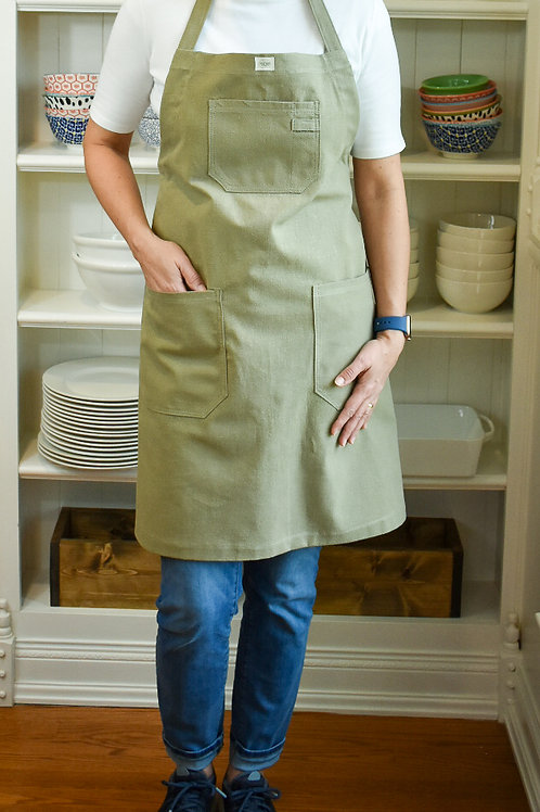 Moss Linen Apron with Adjustable Slide Strap