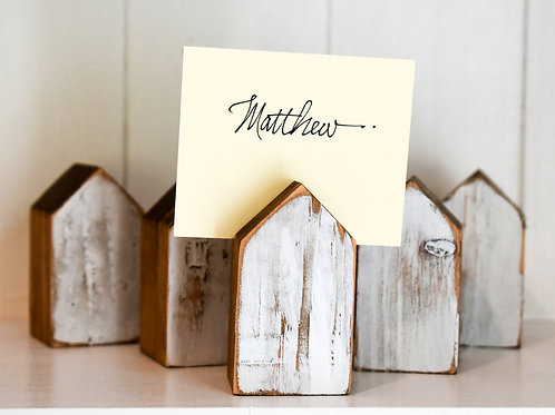 Mini Wooden House Place Card Holders | Set of 6