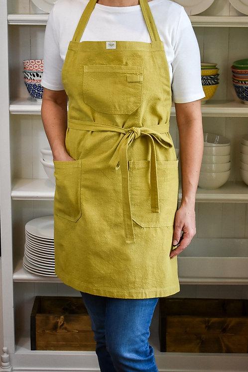Mustard Linen Apron with Adjustable Slide Strap