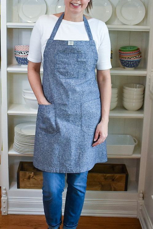 Chambray Linen/Cotton Apron with Adjustable Slide Strap