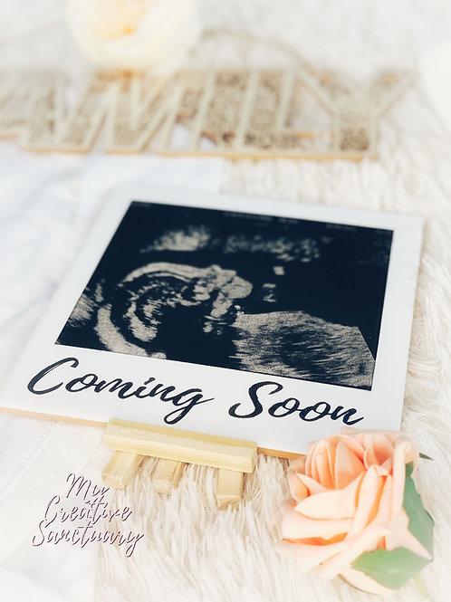 Engraved - Oversized baby scan polaroid tile