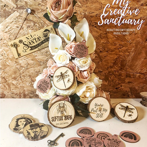 Set Of Four - Personalised Engraved wood decorations