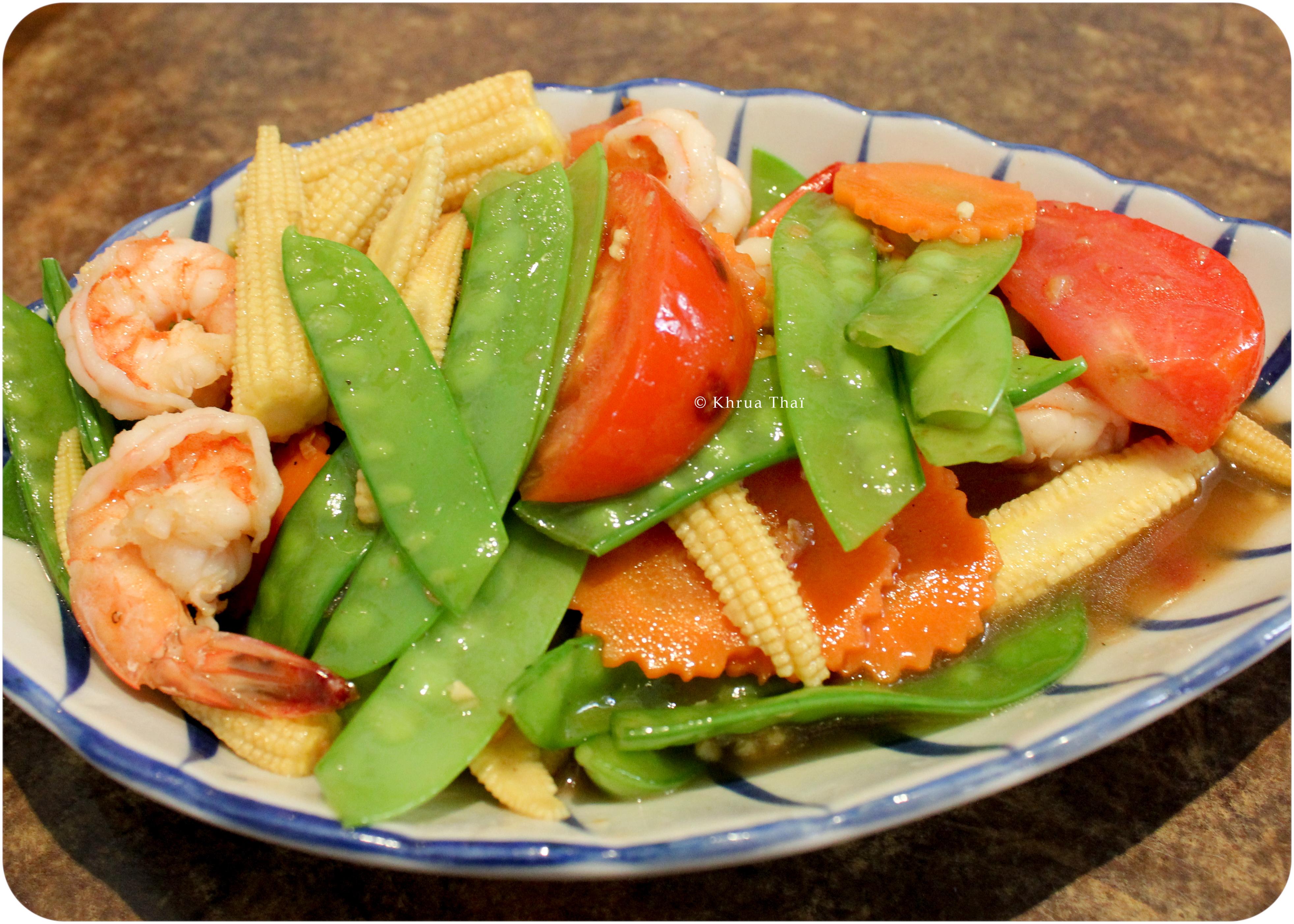 Crevettes sautées légumes