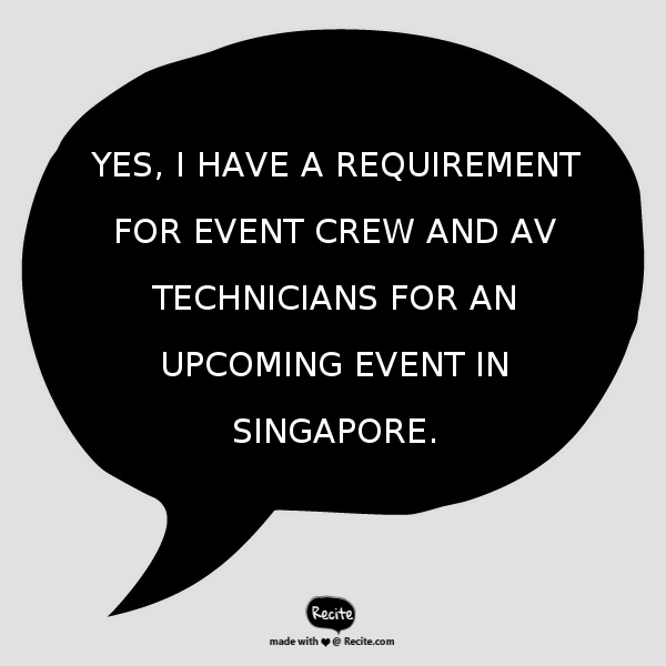 Audio Visual Technician Hire | Event Crew Hire | Singapore | Electric Dreamz