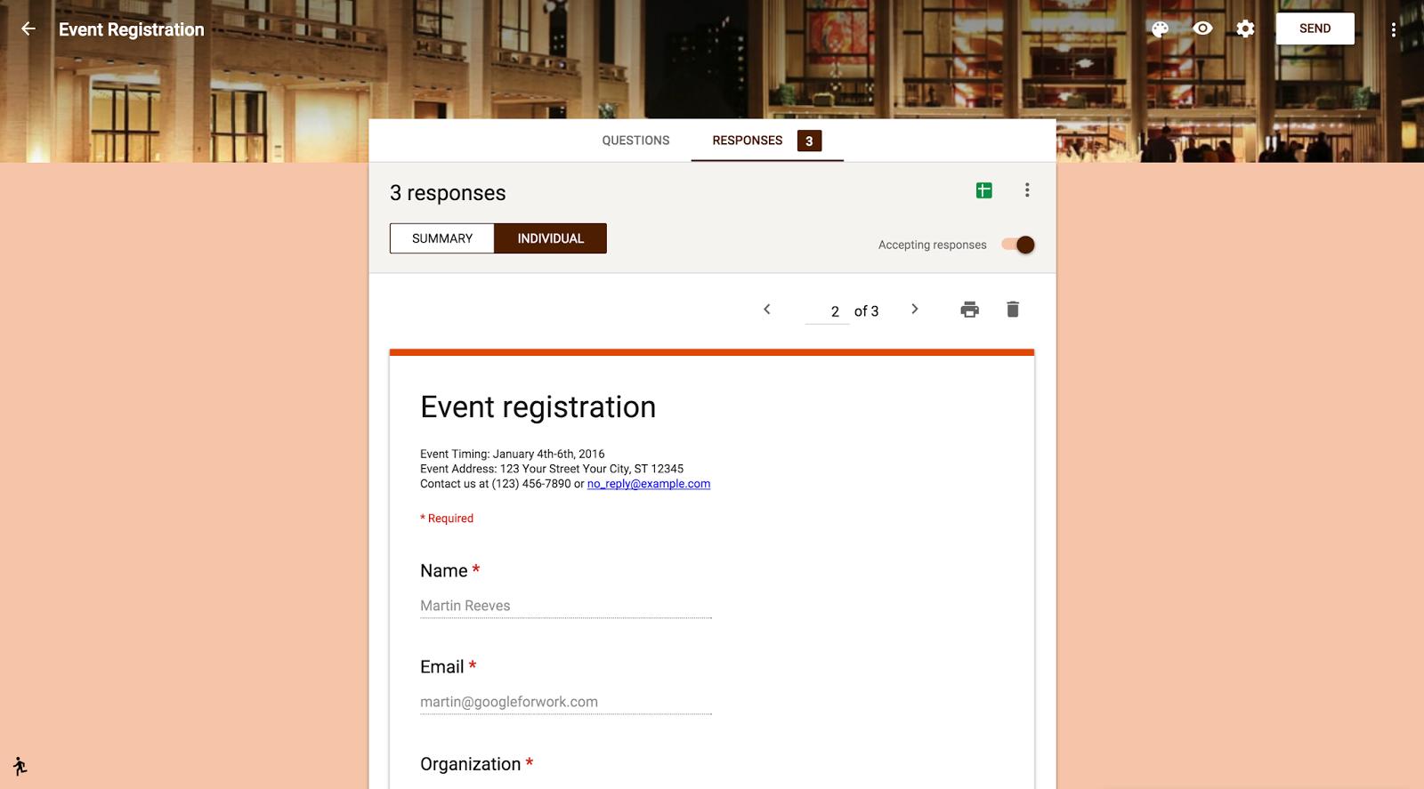 Event Management: Form Responses