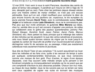 """Article in Culture Jazz by Yves Dorison about """"Universal Citizen"""", David Tixier Trio's"""