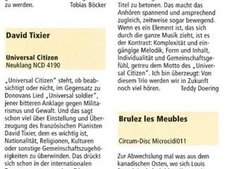 "Article in Jazz Podium about ""Universal Citizen"", David Tixier Trio's album"