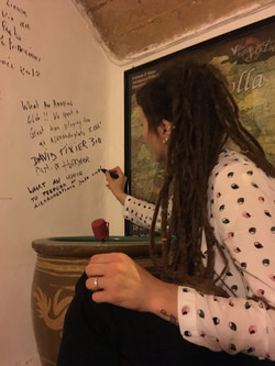 Lada signs the Alexanderplatz Jazz Club's Wall, Rome