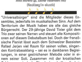 """Article in Jazz'n More about """"Universal Citizen"""", David Tixier Trio's album"""