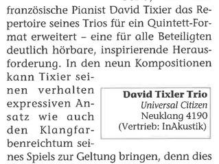 """Article in Piano News about """"Universal Citizen"""", David Tixier Trio's album"""