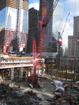 Construction of 9/11 Memorial; Manhattan, NY