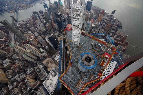 View from NW corner of One World Trade Center; Manhattan, NY