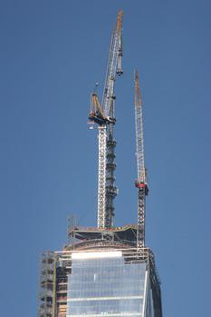 Tower crane atop One World Trade Center; Manhattan, NY