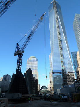 Ground view of World Trade Center under construction; Manhattan, NY