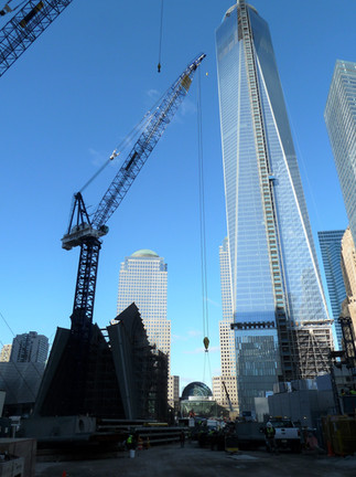 Ground view of World Trade Center under construction; Manhattan, NY