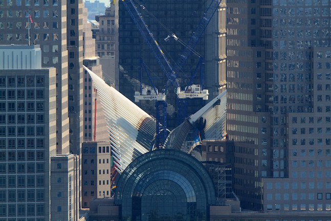View of World Trade Center Oculus under construction; Manhattan, NY