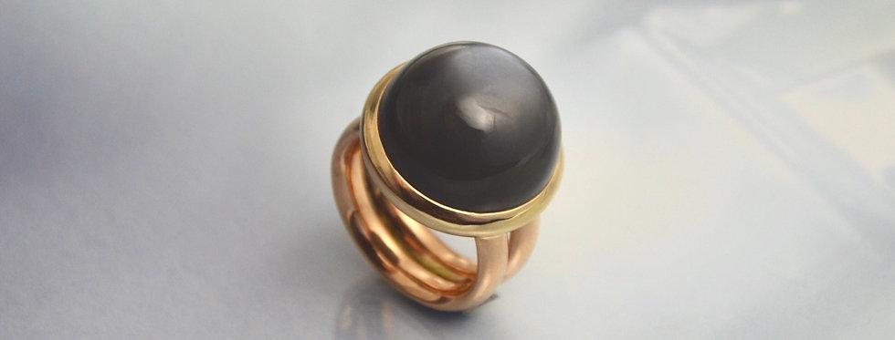 Bicolor Ring dunkler Mondstein
