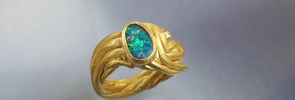 "Ring Opal/Brillant ""Fäden"""