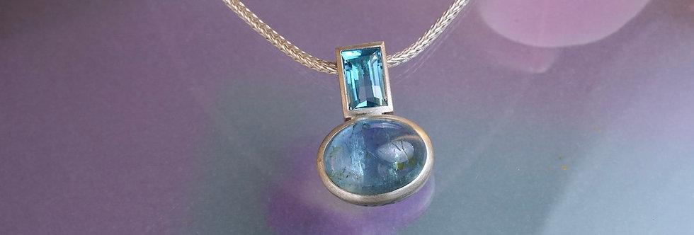 Silber: Kettenanhänger Aquamarin/Zirkon