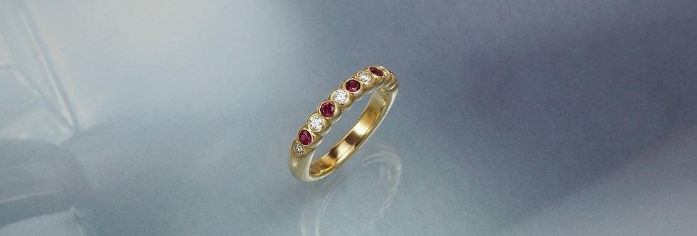 Ring Brillant/Rubin Mémoire facettiert (halb)