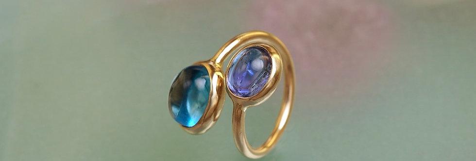 Ring Tansanit/Blautopas Cabochons