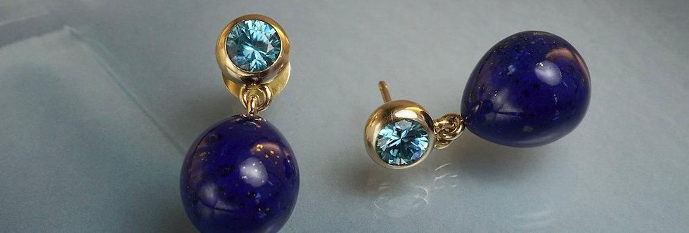 Ohrstecker Zirkon mit Lapis Lazuli