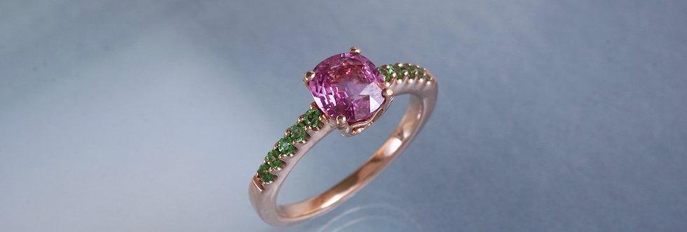 Ring pinker Saphir/Tsavorit