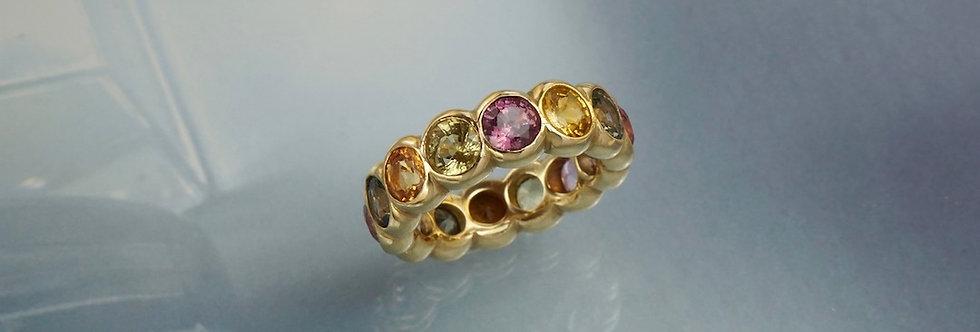 Ring Mémoire bunte Saphire (breit)