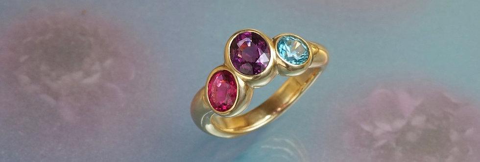 Ring Amethyst/Zirkon/Rubellit