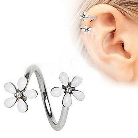 316L Stainless Steel White Wild Flower Twist Cartilage