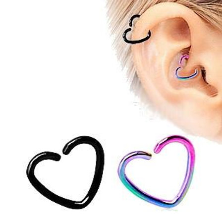 PVD Plated Heart Shaped Cartilage Earring