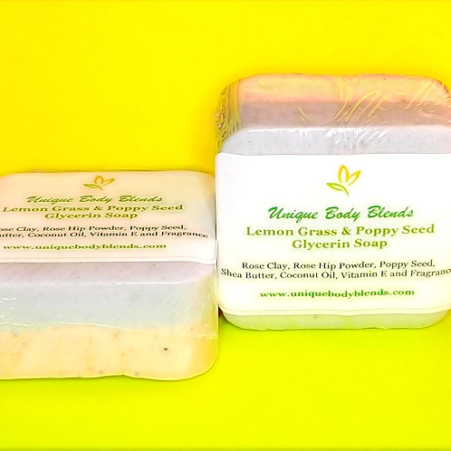 Lemon Grass, Rose Clay with Poppy Seed Soap